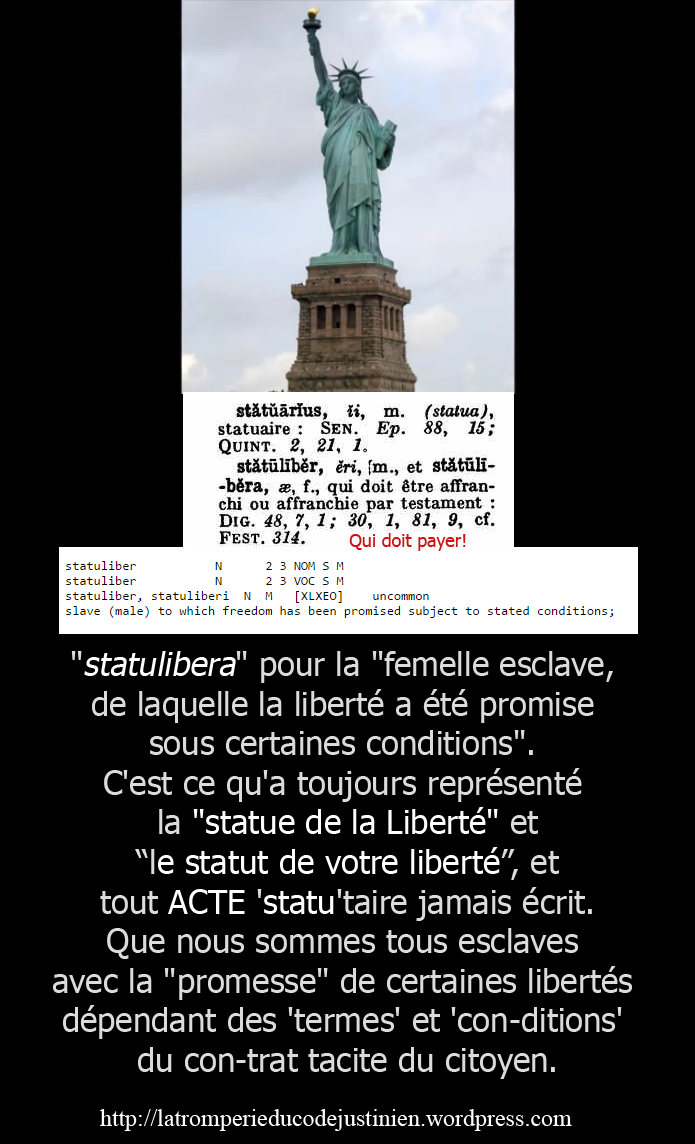 dixit Jordan Maxwell, c'est pour cela que la Statue (State=Etat) de la  Liberty, n'est pas la 'Statue of Freedom' car la Liberté est soumis aux  Statuts et ...